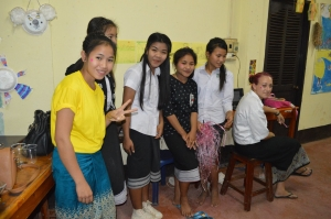 Volunteer teaching in Laos