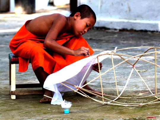 monk in laos